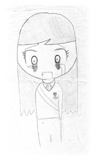 One of Amber's last drawings - herself in a Bitterne Park School uniform, crying